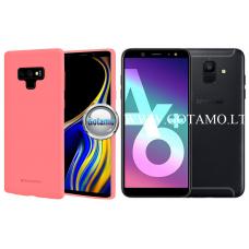 Mercury Soft Feeling dėklas nugarėlė Samsung Galaxy A6+ (2018) telefonui rožinės spalvos