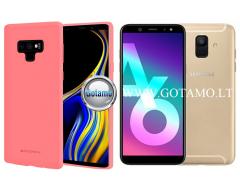 Mercury Soft Feeling dėklas nugarėlė Samsung Galaxy A6 (2018) telefonui rožinės spalvos