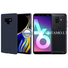 Mercury Soft Feeling dėklas nugarėlė Samsung Galaxy A6+ (2018) telefonui tamsiai mėlynos spalvos