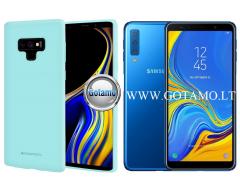 Mercury Soft Feeling dėklas nugarėlė Samsung Galaxy A7 (2018) telefonui mėtinės spalvos