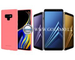 Mercury Soft Feeling dėklas nugarėlė Samsung Galaxy A8 (2018) telefonui rožinės spalvos