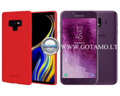 Mercury Soft Feeling dėklas nugarėlė Samsung Galaxy J4 (2018) telefonui raudonos spalvos