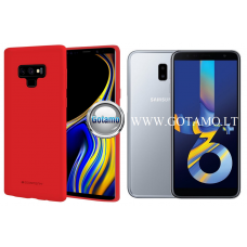 Mercury Soft Feeling dėklas nugarėlė Samsung Galaxy J6+ (2018) telefonui raudonos spalvos