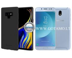 Mercury Soft Feeling dėklas nugarėlė Samsung Galaxy J7 (2017) telefonui juodos spalvos