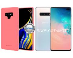Mercury Soft Feeling dėklas nugarėlė Samsung Galaxy S10+ telefonui rožinės spalvos
