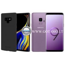Mercury Soft Feeling dėklas nugarėlė Samsung Galaxy S9 telefonui juodos spalvos