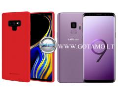 Mercury Soft Feeling dėklas nugarėlė Samsung Galaxy S9 telefonui raudonos spalvos