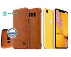 Nillkin Qin odinis dėklas Apple iPhone XR telefonams rudos spalvos