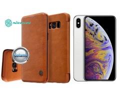 Nillkin Qin odinis dėklas Apple iPhone Xs Max telefonams rudos spalvos