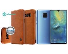 Nillkin Qin odinis dėklas Huawei Mate 20 telefonams rudos spalvos