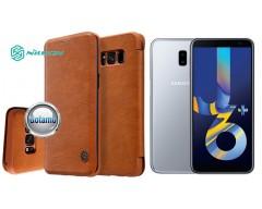 Nillkin Qin odinis dėklas Samsung Galaxy J6+ (2018) telefonams rudos spalvos