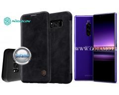 Nillkin Qin odinis dėklas Sony Xperia 1 Sony Xperia XZ4 telefonams juodos spalvos