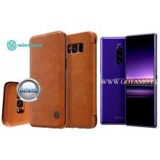 Nillkin Qin odinis dėklas Sony Xperia 1 Sony Xperia XZ4 telefonams rudos spalvos