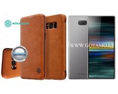Nillkin Qin odinis dėklas Sony Xperia 10 Plus Sony Xperia XA3 Ultra telefonams rudos spalvos