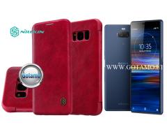 Nillkin Qin odinis dėklas Sony Xperia 10 Sony Xperia XA3 telefonams raudonos spalvos