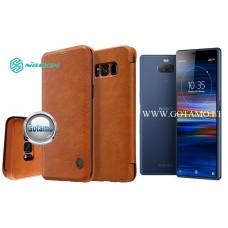 Nillkin Qin odinis dėklas Sony Xperia 10 Sony Xperia XA3 telefonams rudos spalvos