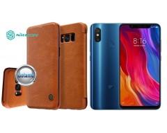 Nillkin Qin odinis dėklas Xiaomi Mi 8, Xiaomi Mi 8 Pro telefonams rudos spalvos