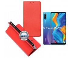 Re-Grid magnetinis dėklas Huawei P30 Lite mobiliesiems telefonams raudonos spalvos