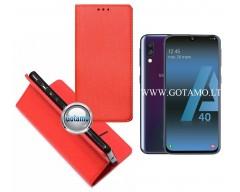 Re-Grid magnetinis dėklas Samsung Galaxy A40 telefonams raudonos spalvos