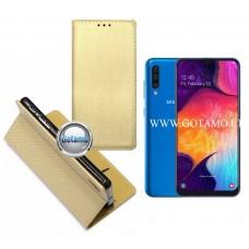 Re-Grid magnetinis dėklas Samsung Galaxy A50 telefonams aukso spalvos