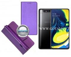 Re-Grid magnetinis dėklas Samsung Galaxy A80 telefonams violetinės spalvos