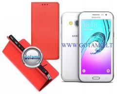 Re-Grid magnetinis dėklas Samsung Galaxy J3 (2016) mobiliesiems telefonams raudonos spalvos