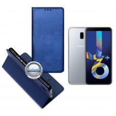 Re-Grid magnetinis dėklas Samsung Galaxy J6+ (2018) telefonams mėlynos spalvos