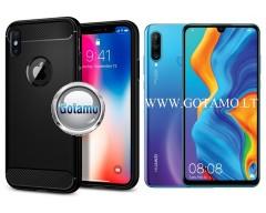 Siege dėklas nugarėlė Huawei P30 Lite mobiliesiems telefonams juodos spalvos