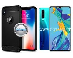 Siege dėklas nugarėlė Huawei P30 mobiliesiems telefonams juodos spalvos