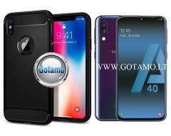 Siege dėklas nugarėlė Samsung Galaxy A40 mobiliesiems telefonams juodos spalvos