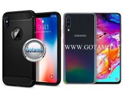 Siege dėklas nugarėlė Samsung Galaxy A70 mobiliesiems telefonams juodos spalvos