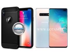 Siege dėklas nugarėlė Samsung Galaxy S10+ mobiliesiems telefonams juodos spalvos