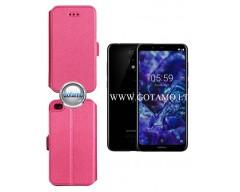 Slim Diary dėklas Nokia 5.1 Plus mobiliesiems telefonams rožinės spalvos