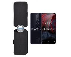 Slim Diary dėklas Nokia 6.1 Plus mobiliesiems telefonams juodos spalvos