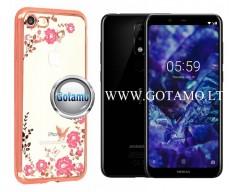 Spring dėklas nugarėlė Nokia 5.1 Plus telefonams rožinės spalvos
