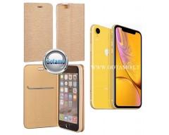 Vennus Diary magnetinis dėklas Apple iPhone XR telefonams aukso spalvos