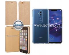 Vennus Diary magnetinis dėklas Huawei Mate 20 Lite telefonams aukso spalvos