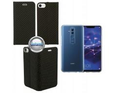 Vennus Diary magnetinis dėklas Huawei Mate 20 Lite telefonams Carbon juodos spalvos