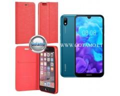 Vennus Diary magnetinis dėklas Huawei Y5 (2019) Huawei Honor 8S telefonams raudonos spalvos