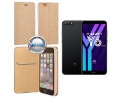 Vennus Diary magnetinis dėklas Huawei Y6 (2018) Huawei Honor 7A telefonams aukso spalvos