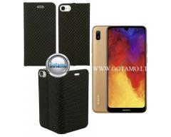 Vennus Diary magnetinis dėklas Huawei Y6 (2019) Huawei Honor 8A telefonams Carbon juodos spalvos