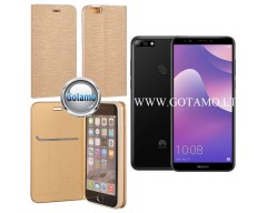 Vennus Diary magnetinis dėklas Huawei Y7 (2018) Huawei Honor 7C telefonams aukso spalvos