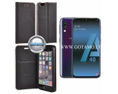 Vennus Diary magnetinis dėklas Samsung Galaxy A40 telefonams juodos spalvos