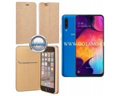Vennus Diary magnetinis dėklas Samsung Galaxy A50 telefonams aukso spalvos