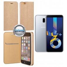 Vennus Diary magnetinis dėklas Samsung Galaxy J6+ (2018) telefonams aukso spalvos