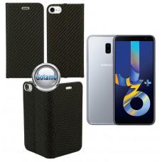 Vennus Diary magnetinis dėklas Samsung Galaxy J6+ (2018) telefonams Carbon juodos spalvos