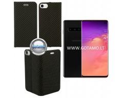 Vennus Diary magnetinis dėklas Samsung Galaxy S10 telefonams Carbon juodos spalvos