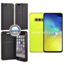 Vennus Diary magnetinis dėklas Samsung Galaxy S10e telefonams juodos spalvos