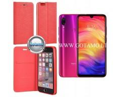 Vennus Diary magnetinis dėklas Xiaomi Redmi Note 7, Xiaomi Redmi Note 7 Pro telefonams raudonos spalvos