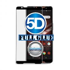 Apsauga ekranui gaubtas grūdintas stiklas Asus ROG Phone 2 mobiliesiems telefonams juodos spalvos 5D pilnas padengimas klijais